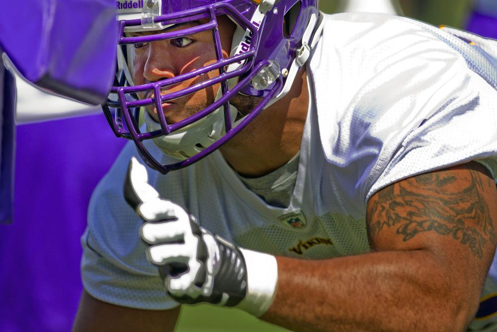 May 4, 2012; Eden Prairie, MN, USA; Minnesota Vikings defensive end Trevor Guyton (92) practices in drills at rookie camp at Winter Park. Mandatory Credit: Bruce Kluckhohn-US PRESSWIRE