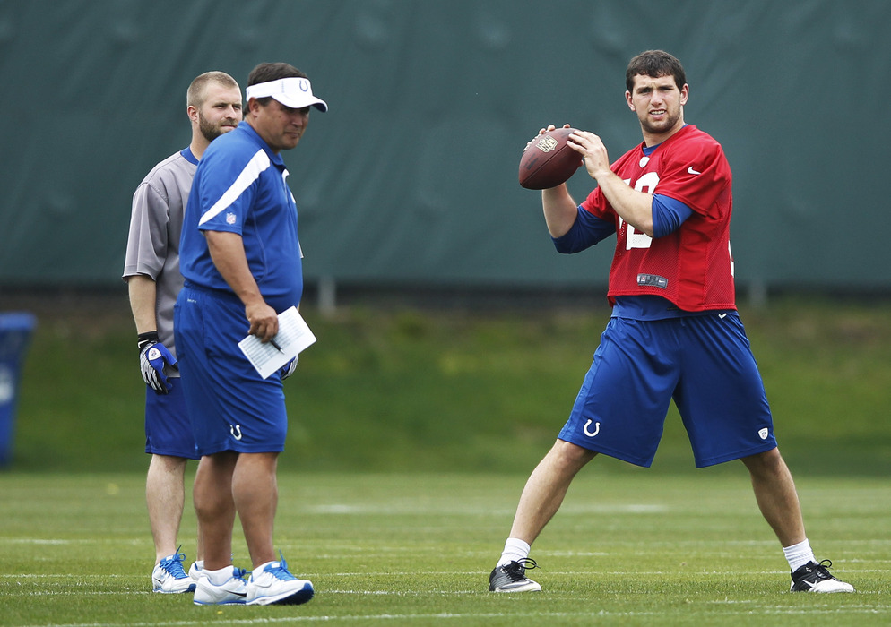INDIANAPOLIS, IN - MAY 4: Andrew Luck #12 of the Indianapolis Colts participates during a rookie minicamp at the team facility on May 4, 2012 in Indianapolis, Indiana. (Photo by Joe Robbins/Getty Images)