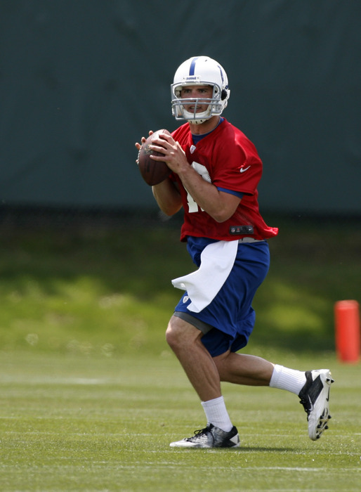 May 4, 2012; Indianapolis, IN, USA; Indianapolis Colts quarterback Andrew Luck (12) throws a pass during minicamp at the Indiana Farm Bureau Football Center. Mandatory Credit: Brian Spurlock-US PRESSWIRE