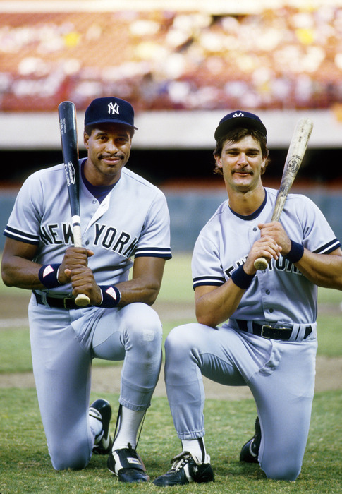 Unknown date & location, USA; FILE PHOTO; New York Yankees outfielder Dave Winfield (left) and first baseman Don Mattingly pose for a portrait before a game.  Mandatory Credit: Richard Mackson-US PRESSWIRE