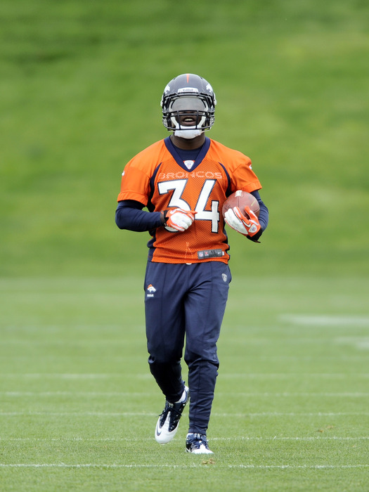 May 11 2012; Englewood, CO, USA; Denver Broncos running back Ronnie Hillman works out during mini camp at Broncos headquarters. Mandatory Credit: Ron Chenoy-US PRESSWIRE