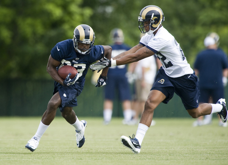 May 11, 2012; St. Louis, MO, USA; St. Louis Rams wide receiver Brian Quick (83) runs as cornerback Trumaine Johnson (22) defends during mini camp at ContinuityX Training Center. Mandatory Credit: Jeff Curry-US PRESSWIRE