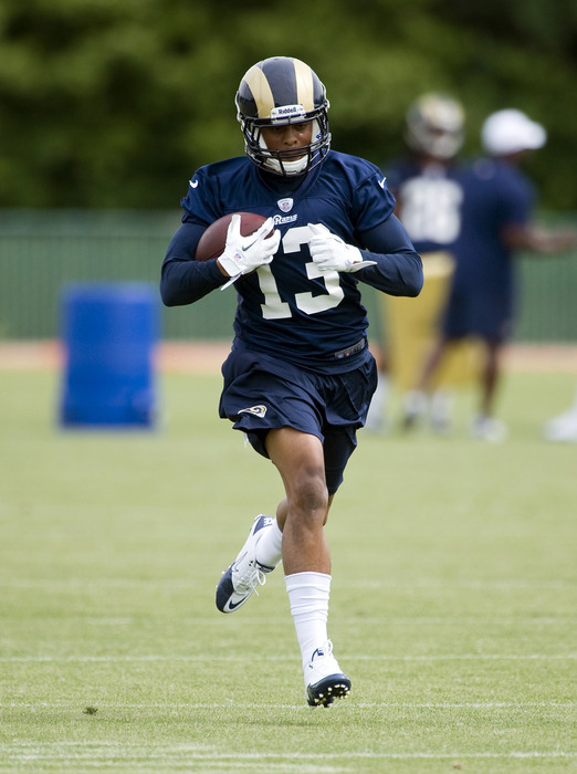 May 11, 2012; St. Louis, MO, USA; St. Louis Rams wide receiver Chris Givens (13) runs during mini camp at ContinuityX Training Center. Mandatory Credit: Jeff Curry-US PRESSWIRE
