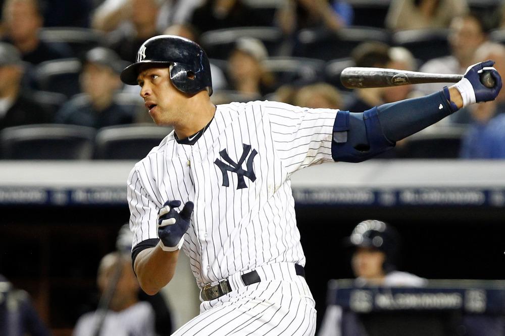 May 11, 2012; Bronx, NY, USA; New York Yankees third baseman Alex Rodriguez (13) singles to left against the Seattle Mariners during the seventh inning at Yankee Stadium. Yankees won 6-2. Mandatory Credit: Debby Wong-US PRESSWIRE