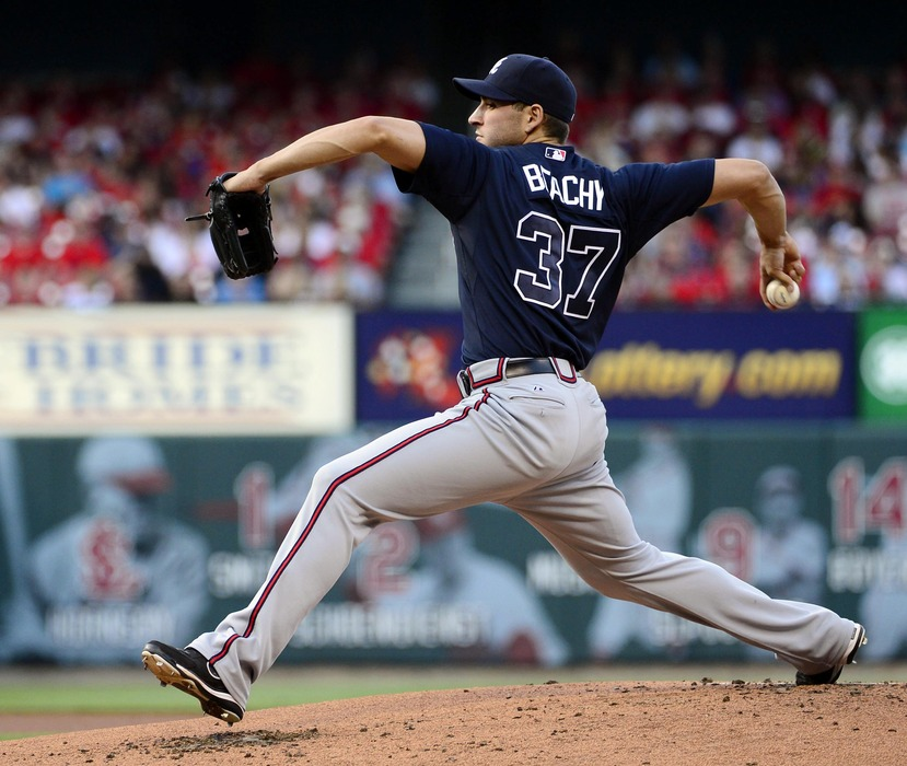 May 12, 2012; St. Louis, MO, USA; Atlanta Braves starting pitcher Brandon Beachy (37) delivers a pitch against the St. Louis Cardinals at Busch Stadium. Mandatory Credit: Scott Rovak-US PRESSWIRE