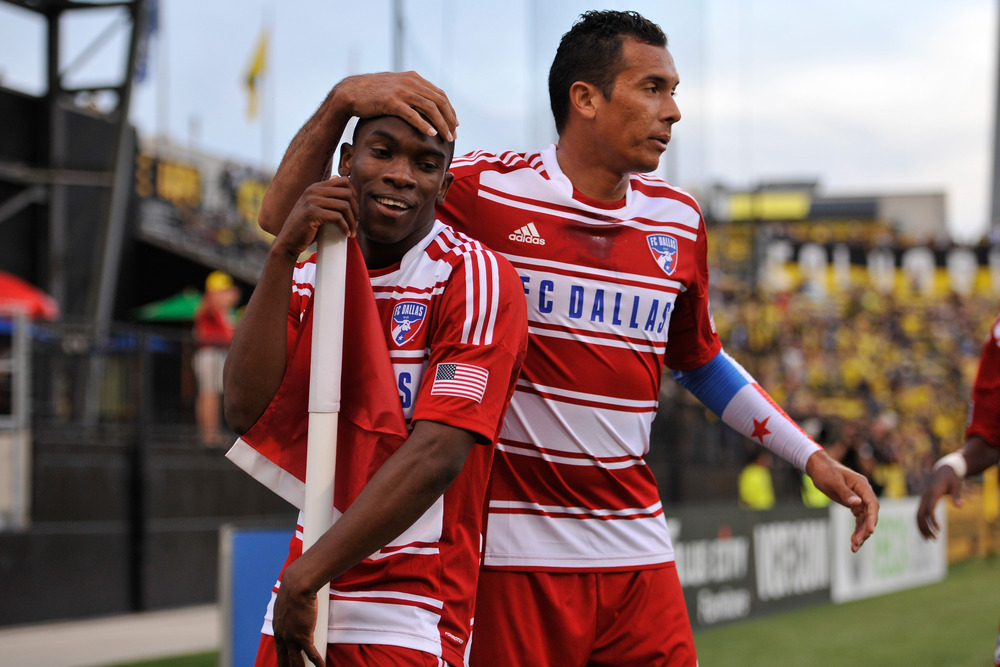 COLUMBUS, OH - MAY 12:  Fabian Castillo #7 of FC Dallas, left, celebrates his first half goal against the Columbus Crew with teammate Blas Perez #9 of FC Dallas on May 12, 2012 at Crew Stadium in Columbus, Ohio.   (Photo by Jamie Sabau/Getty Images)