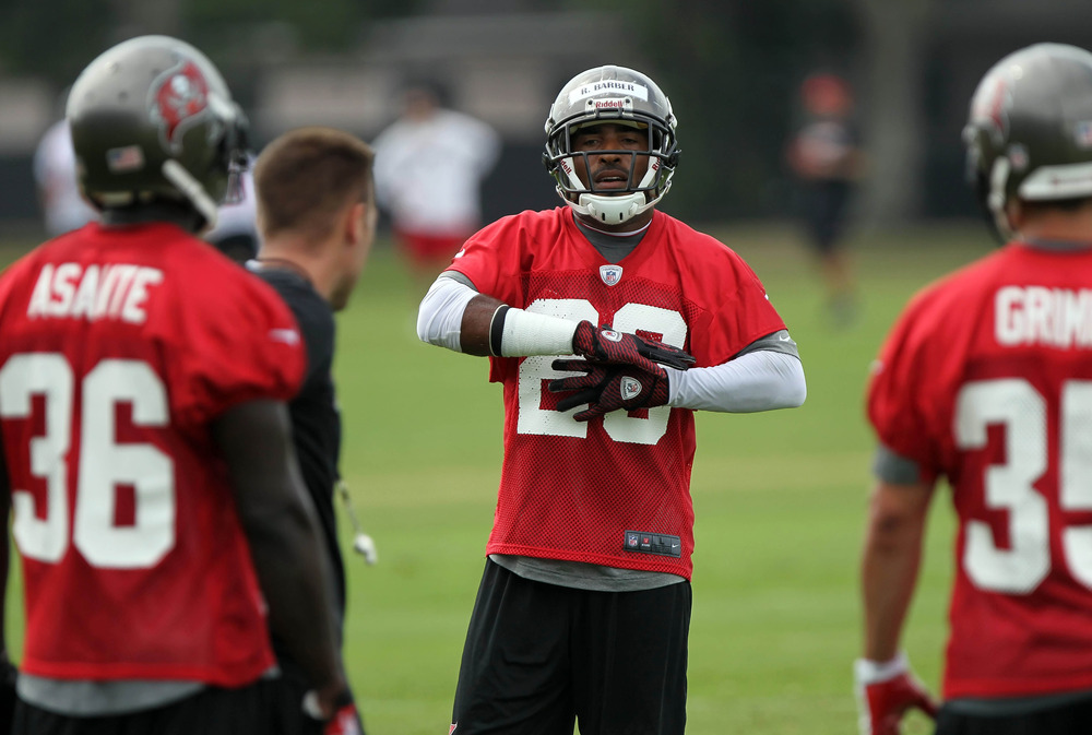 May 15, 2012; Tampa, FL, USA;  Tampa Bay Buccaneers defensive back Ronde Barber (20) works out during organized team activities at One Buc.   Mandatory Credit: Kim Klement-US PRESSWIRE