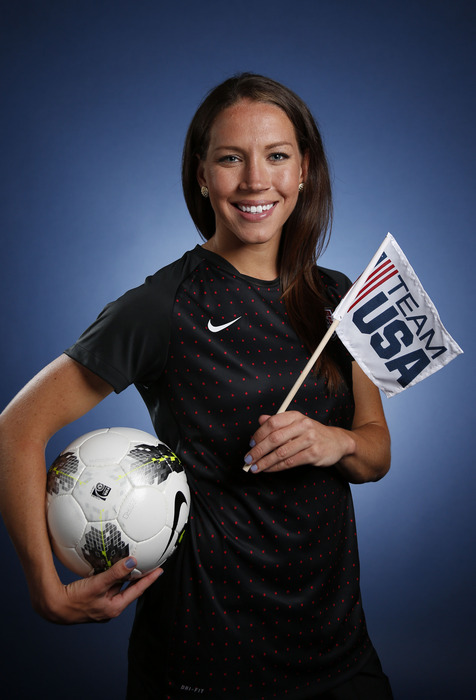 May 15, 2012; Dallas, TX, USA;  Team USA women's soccer player Lauren Cheney during a portrait session at the 2012 Team USA Media Summit at the Hilton Anatole. Mandatory Credit: Jim Cowsert-US PRESSWIRE