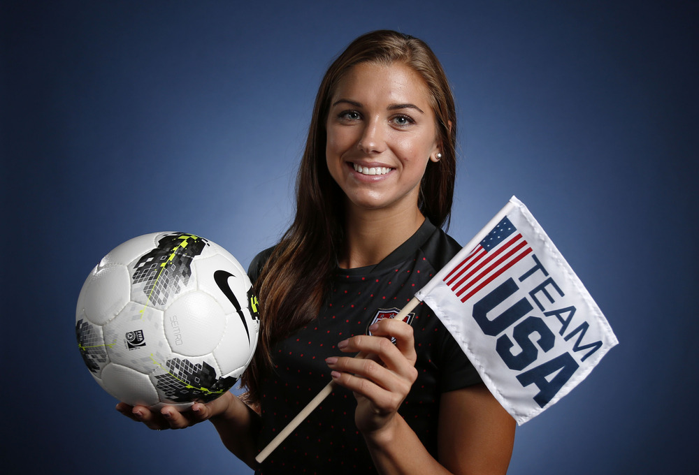 May 15, 2012; Dallas, TX, USA;  Team USA women's soccer player Alex Morgan during a portrait session at the 2012 Team USA Media Summit at the Hilton Anatole. Mandatory Credit: Jim Cowsert-US PRESSWIRE