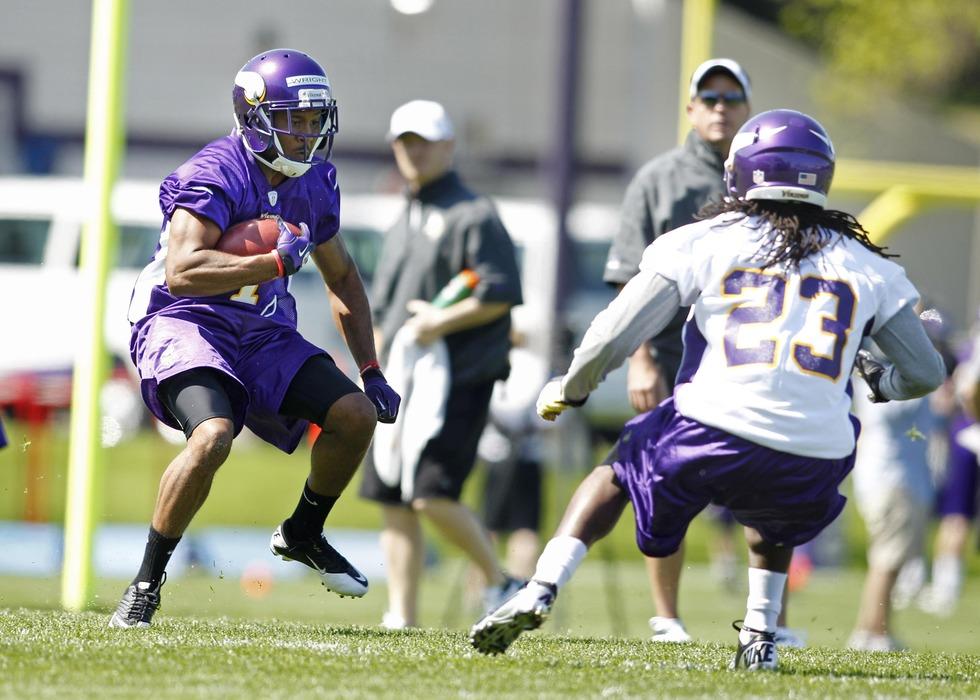 May 4, 2012; Eden Prairie, MN, USA; Minnesota Vikings wide receiver Jarius Wright (1) works on special team drills at rookie camp at Winter Park. Mandatory Credit: Bruce Kluckhohn-US PRESSWIRE