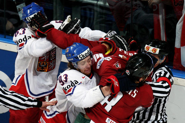 Who says there isn't fighting at Worlds? Bonus question: Can you find Corey Perry?