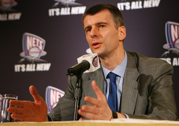 NEW YORK - MAY 19:  New Jersey Nets owner Mikhail Prokhorov addresses the media during a press conference at the Four Seasons Hotel on May 19, 2010 in New York City.  (Photo by Mike Stobe/Getty)