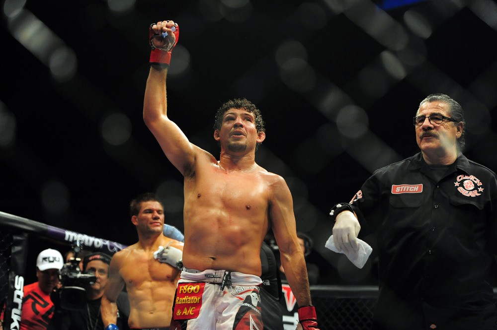 May 19, 2012; San Jose, CA, USA; Gilbert Melendez (right) fights Josh Thomson (left) during the lightweight bout of the Strikeforce World Grand Prix at HP Pavilion. Kyle Terada-US PRESSWIRE