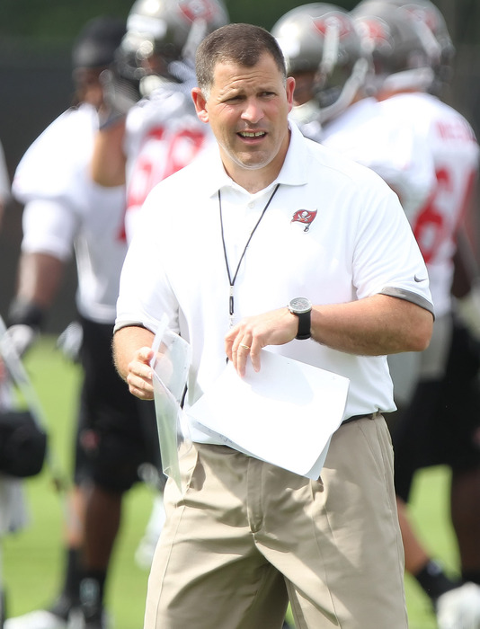 May 15, 2012; Tampa, FL, USA;  Tampa Bay Buccaneers head coach Greg Schiano during organized team activities at One Buc.   Mandatory Credit: Kim Klement-US PRESSWIRE