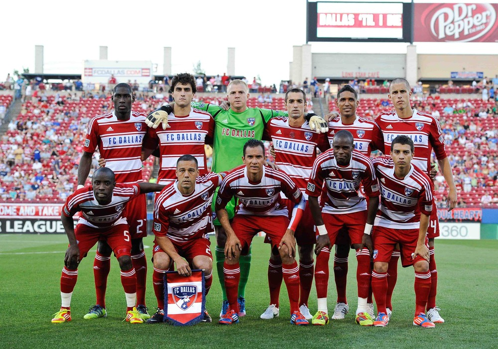 May 19, 2012; Frisco, TX, USA; FC Dallas poses for a team photo before their match against the Philadelphia Union at FC Dallas Stadium. FC Dallas and Philadelphia Union ended tied 1-1. Mandatory Credit: Jerome Miron-US PRESSWIRE