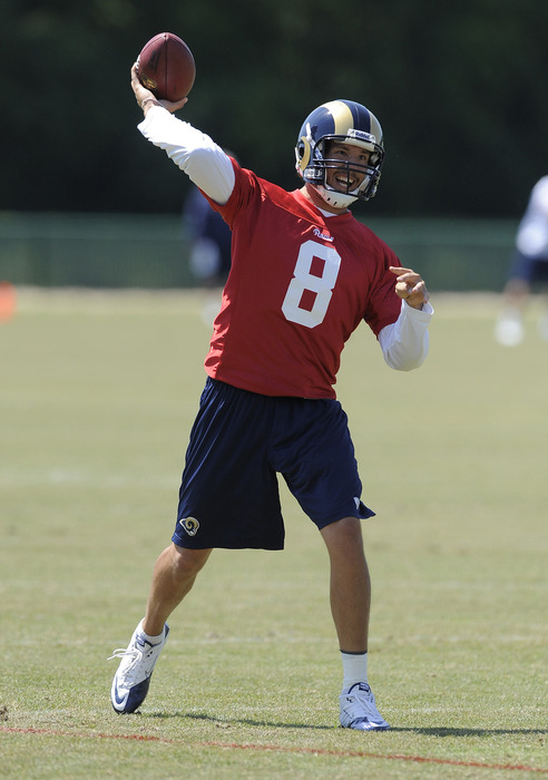 May 23, 2012; St. Louis, MO, USA; St. Louis Rams quarterback Sam Bradford (8) throws during an OTA at ContinuityX Training Center. Mandatory Credit: Jeff Curry-US PRESSWIRE