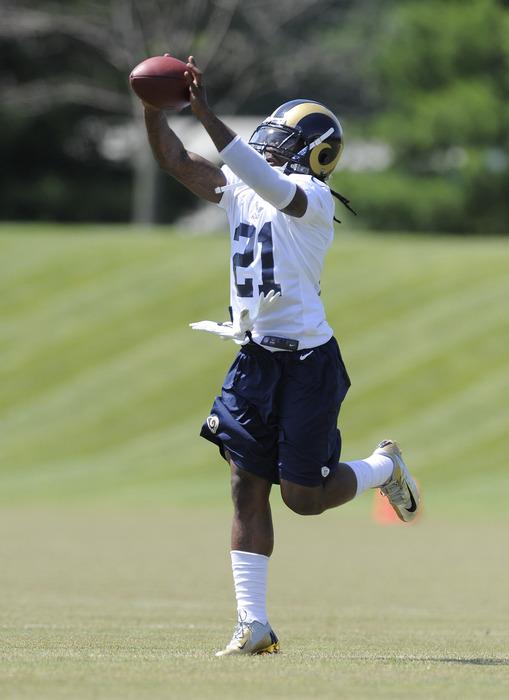 May 23, 2012; St. Louis, MO, USA; St. Louis Rams cornerback Janoris Jenkins (21) catches a ball during an OTA at ContinuityX Training Center. Mandatory Credit: Jeff Curry-US PRESSWIRE