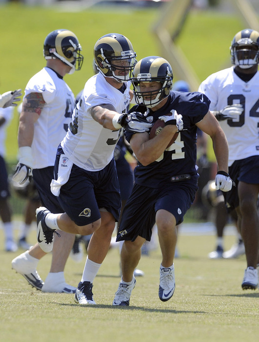 May 23, 2012; St. Louis, MO, USA; St. Louis Rams running back Chase Reynolds (34) carries the ball as linebacker James Laurinaitis (55) defends during an OTA at ContinuityX Training Center. Mandatory Credit: Jeff Curry-US PRESSWIRE