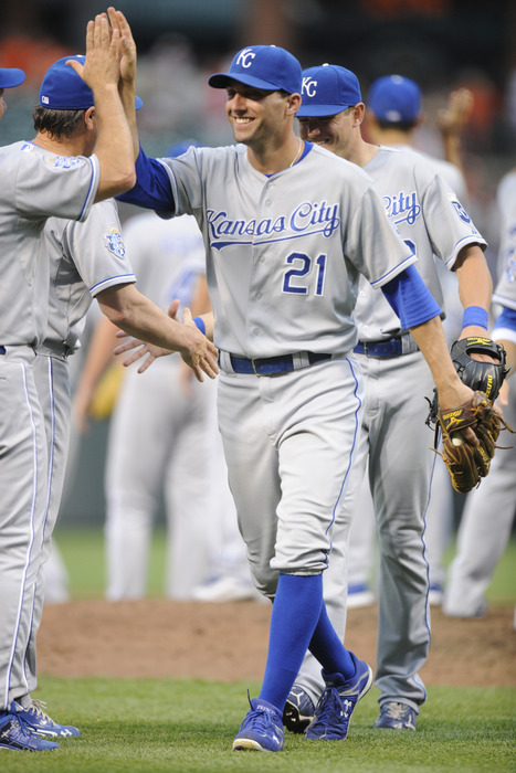 BALTIMORE, MD - MAY 26:  Jeff Francouer #2 of the Kansas City Royals celebrates a win after a baseball game against the Baltimore Orioles at Oriole Park at Camden Yards on May 26, 2012 in Baltimore, Maryland.  (Photo by Mitchell Layton/Getty Images)
