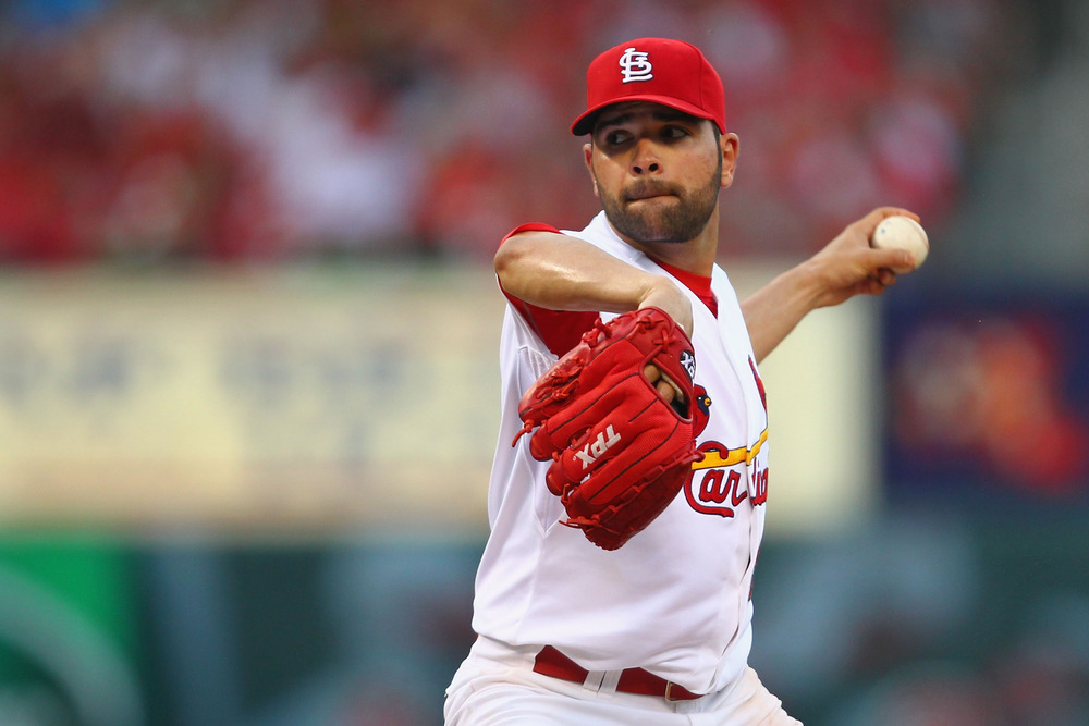 ST. LOUIS, MO - MAY 26: Starter Jaime Garcia #54 of the St. Louis Cardinals pitches against the Philadelphia Phillies at Busch Stadium on May 26, 2012 in St. Louis, Missouri.  (Photo by Dilip Vishwanat/Getty Images)
