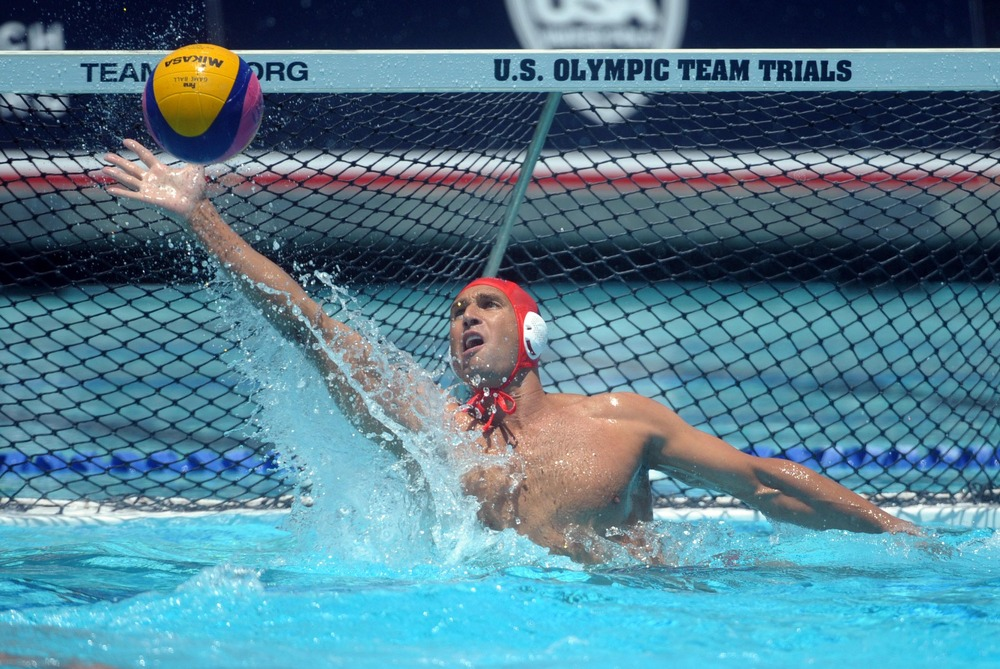May 27, 2012; Newport Beach, CA, USA; United States goalie Merrill Moses (1) makes a save against Hungary at Newport Harbor high school. The United States defeated Hungary 12-9. Mandatory Credit: Kirby Lee/Image of Sport-US PRESSWIRE