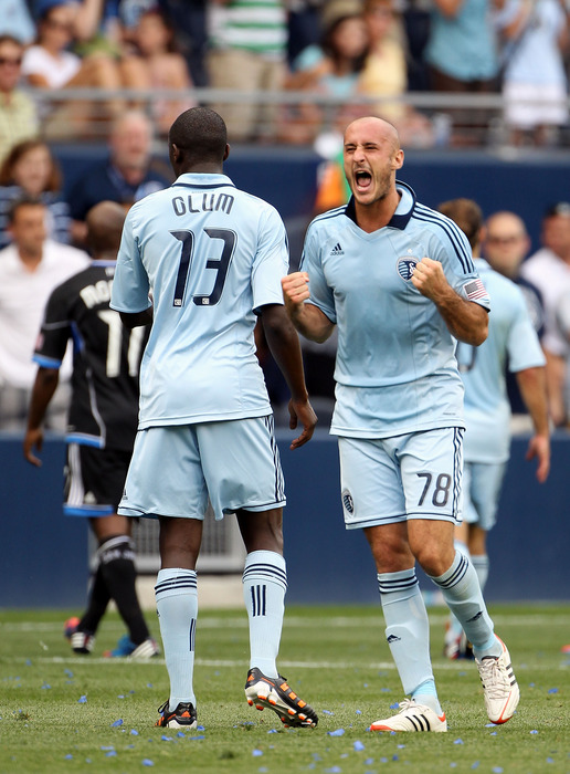 KANSAS CITY, KS - MAY 27:  Aurelien Collin #78 of Sporting KC celebrates after Sporting KC defeated the San Jose Earthquakes 2-1 to win the game on May 27, 2012 at Livestrong Sporting Park in Kansas City, Kansas.  (Photo by Jamie Squire/Getty Images)