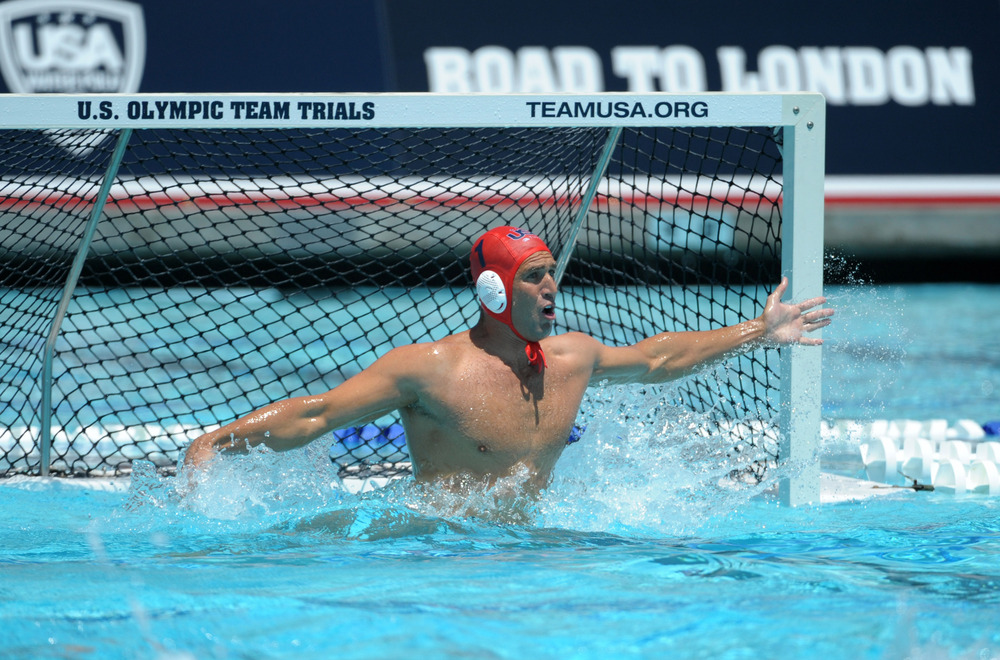 May 27, 2012; Newport Beach, CA, USA; United States goalie Merrill Moses (1) defends the cage against Hungary at Newport Harbor high school. The United States defeated Hungary 12-9. Mandatory Credit: Kirby Lee/Image of Sport-US PRESSWIRE