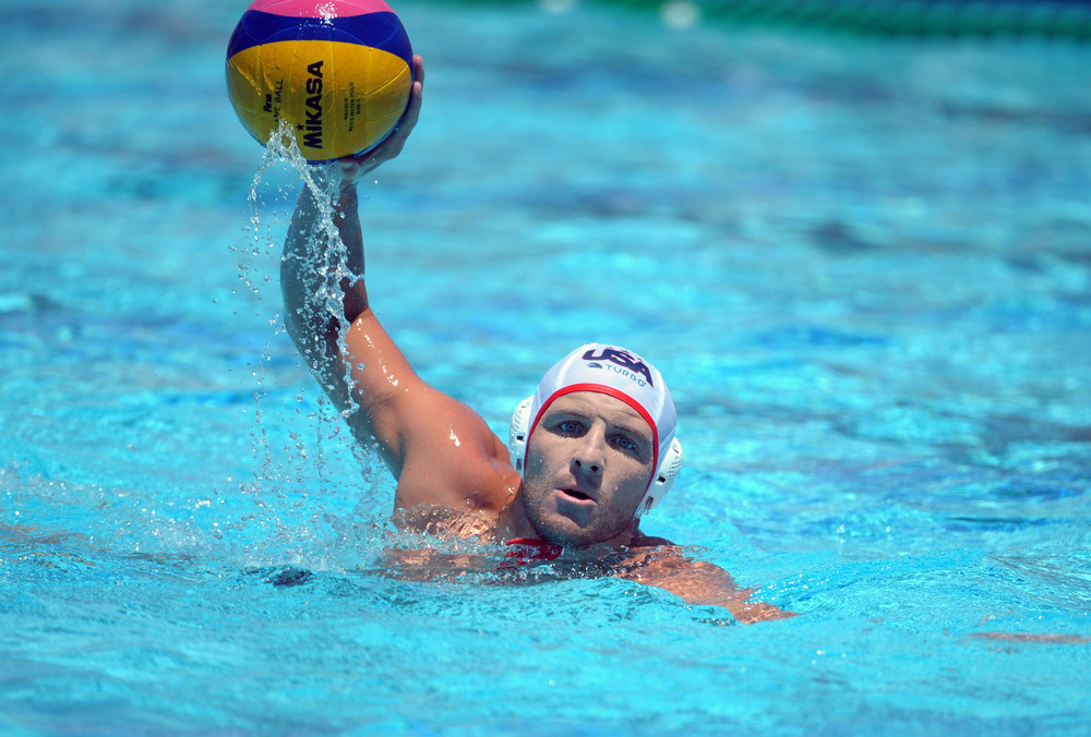 May 27, 2012; Newport Beach, CA, USA; United States attacker Tony Azevedo (8) against Hungary at Newport Harbor high school. The United States defeated Hungary 12-9. Mandatory Credit: Kirby Lee/Image of Sport-US PRESSWIRE