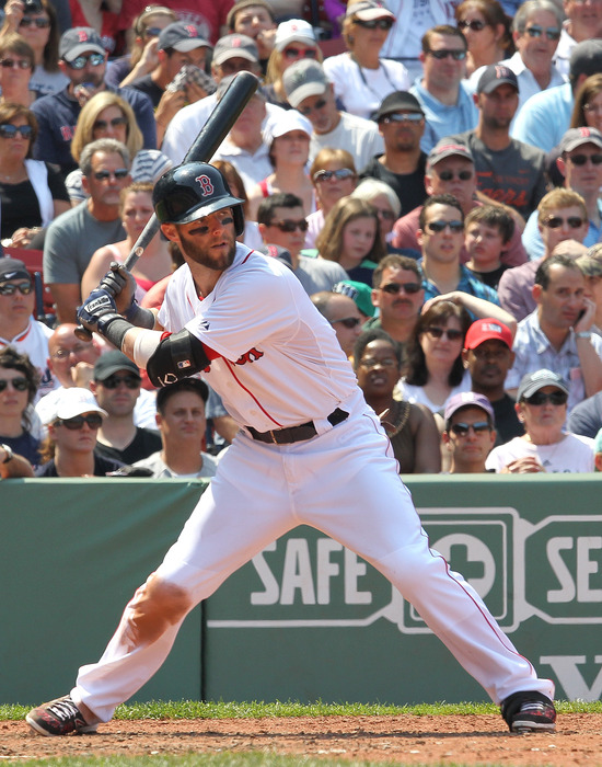 BOSTON, MA:  Dustin Pedroia #15 of the Boston Red Sox bats against the Detroit Tigers at Fenway Park in Boston, Massachusetts. Pedroia later left the game with an injury to his left thumb. (Photo by Jim Rogash/Getty Images)