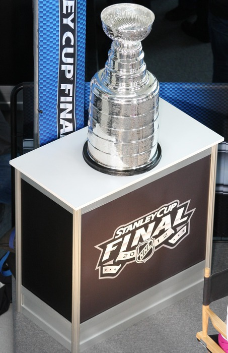May 29; Newark, NJ, USA; A general view of the Stanley Cup on display during media day for the 2012 Stanley Cup Finals between the New Jersey Devils and Los Angeles Kings at the Prudential Center. Mandatory Credit: Ed Mulholland-US PRESSWIRE
