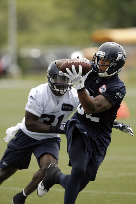 May 30, 2012; Renton, WA, USA; Seattle Seahawks tight end Kellen Winslow (82) catches a pass in front of safety Kam Chancellor (31) during an OTA practice at the Virginia Mason Athletic Center. Mandatory Credit: Joe Nicholson-US PRESSWIRE