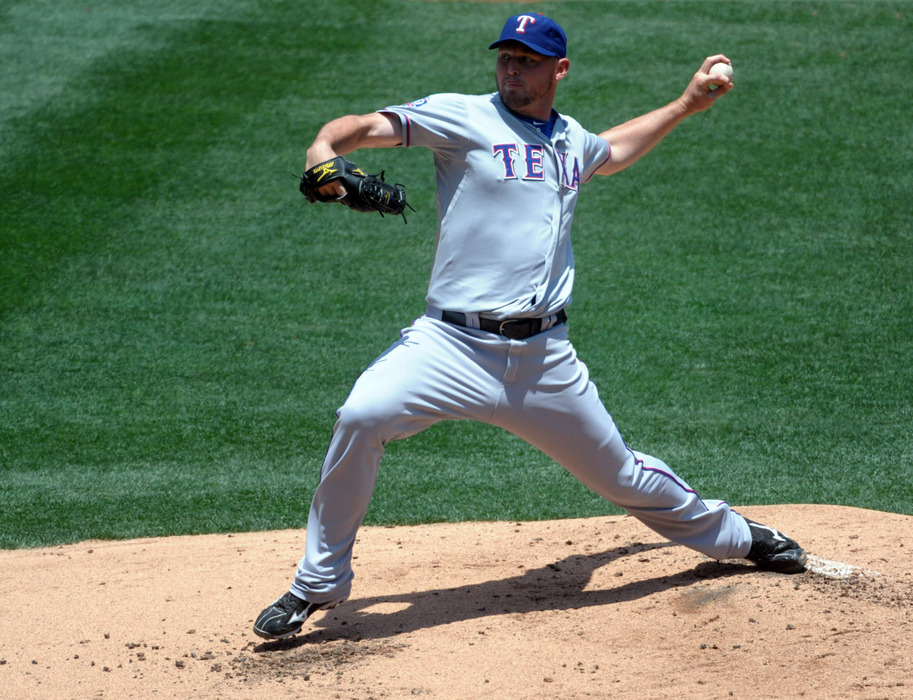Jun 3, 2012; Anaheim, CA, USA; Texas Rangers starter Matt Harrison (54) delivers a pitch against the Los Angeles Angels at Angel Stadium. Mandatory Credit: Kirby Lee/Image of Sport-US PRESSWIRE
