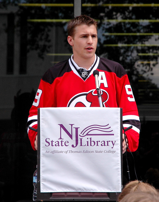 """I""""m taking my talents to St. Paul! (Photo by Andy Marlin/Getty Images for the New Jersey Devils)"""