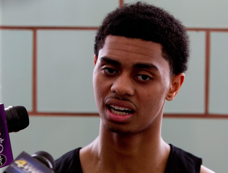 June 4, 2012; Westwego, LA, USA; Connecticut Huskies guard Jeremy Lamb talks with the media following a pre-draft workout with the New Orleans Hornets at the Alario Center.  Mandatory Credit: Derick E. Hingle-US PRESSWIRE