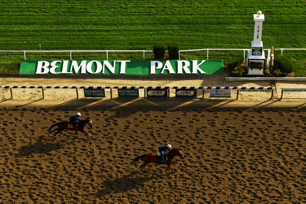 ELMONT, NY - JUNE 05:  Horses and exercise riders train during a morning workout at Belmont Park on June 5, 2012 in Elmont, New York.  (Photo by Al Bello/Getty Images)