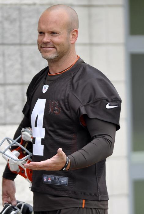 Jun 5, 2012; Berea, OH, USA; Cleveland Browns kicker Phil Dawson (4) during minicamp at the Cleveland Browns training facility. Mandatory Credit: David Richard-US PRESSWIRE