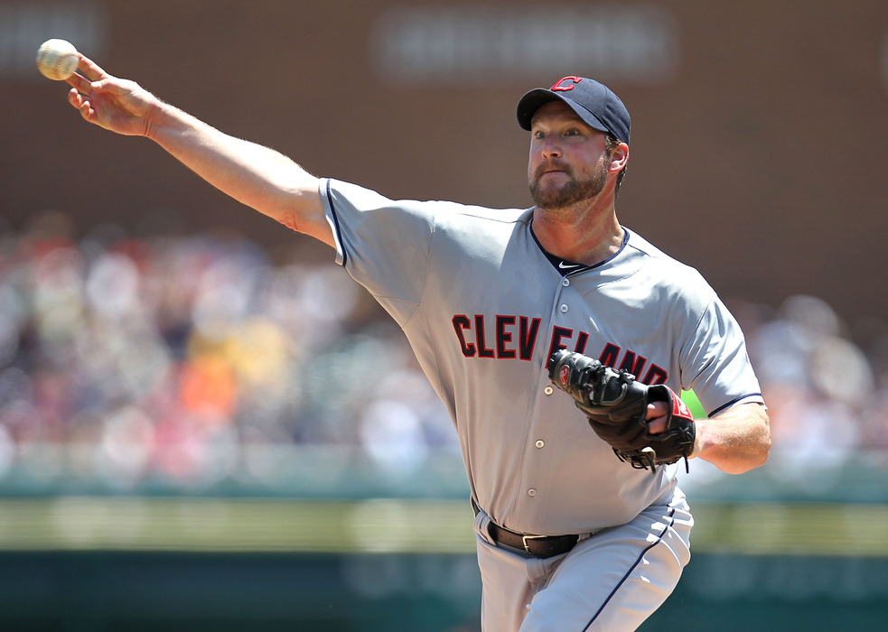 DETROIT, MI - JUNE 07:  Derek Lowe #26 of the Cleveland Indians throws a first inning pitch while playing the Detroit Tigers at Comerica Park on June 7, 2012 in Detroit, Michigan.  (Photo by Gregory Shamus/Getty Images)