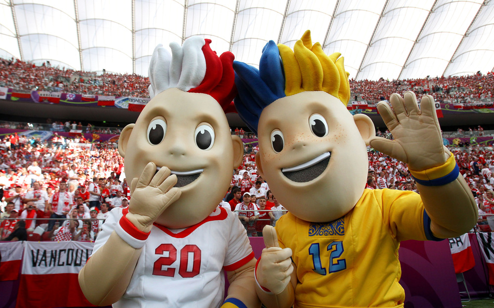 WARSAW, POLAND - JUNE 08:  Euro 2012 mascots Slavek and Slavko pose ahead of the UEFA EURO 2012. Jeepers Creepers!  (Photo by Alex Grimm/Getty Images)