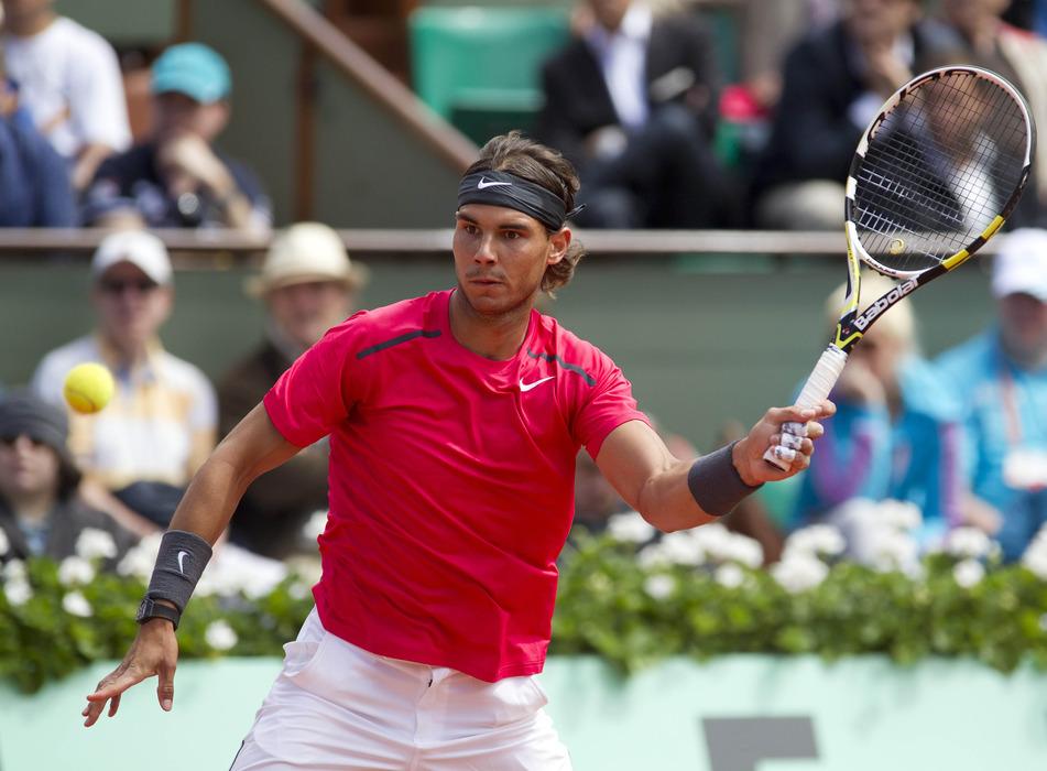 June 8, 2012; Paris, FRANCE; Rafael Nadal (ESP) in his semifinal match against David Ferrer (ESP) on day 13 of the 2012 French Open. Nadal won 6-2 6-2 6-1. Mandatory Credit: Susan Mullane-US PRESSWIRE