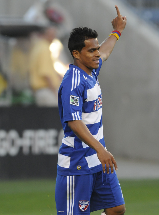 BRIDEVIEW, IL - MAY 27: David Ferreira #10 of FC Dallas celebrates his goal against the Chicago Fire in an MLS match on May 27, 2010 at Toyota Park in Brideview, Illinois. (Photo by David Banks/Getty Images)