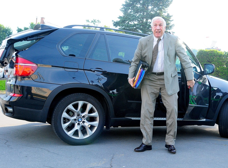 June 11, 2012; Bellefonte, PA USA; Jerry Sandusky arrives at Centre County Courthouse prior to the Jerry Sandusky trial. Mandatory Credit: Evan Habeeb-US PRESSWIRE