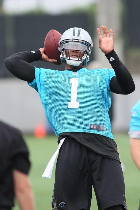 Jun 12, 2012; Charlotte, NC, USA Carolina Panthers quarterback Cam Newton (1) throws a pass during minicamp at the team's practice facility at Bank of America Stadium. Mandatory Credit: Jeremy Brevard-US PRESSWIRE