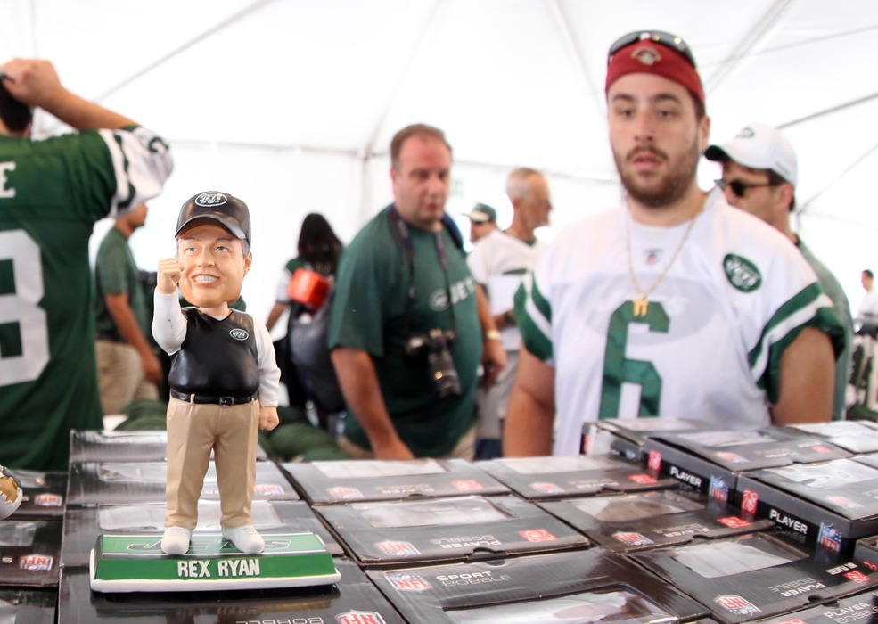 June 14, 2012; Florham Park, NJ, USA; A general view of a bobblehead of New York Jets head coach Rex Ryan before the start of New York Jets minicamp at the Atlantic Health Training Center.  Mandatory Credit: Ed Mulholland-US PRESSWIRE