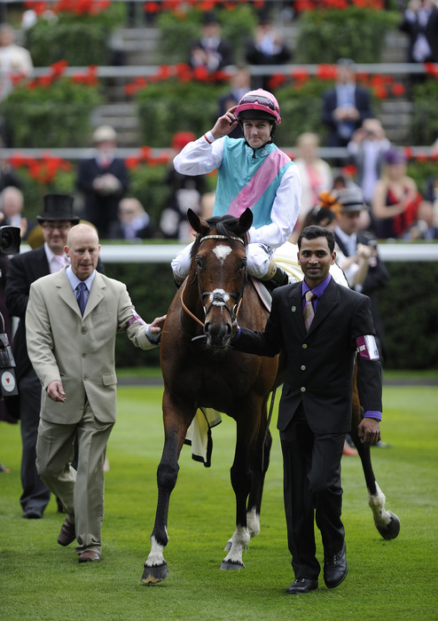 ASCOT, ENGLAND - JUNE 19:  Tom Queally riding Frankel win The Queen Anne Stakes during Royal Ascot at Ascot racecourse on June 19, 2012 in Ascot, England. (Photo by Alan Crowhurst/Getty Images)