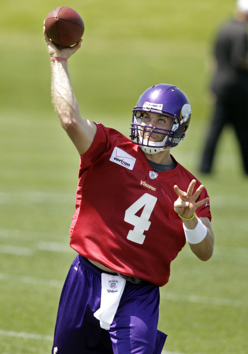 Which quarterback will be taking all the second-half snaps for the Vikings this evening? There can be. . .ONLY ONE!! (Mandatory Credit: Bruce Kluckhohn-US PRESSWIRE)