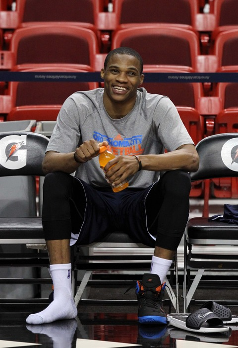 Jun 20, 2012; Miami, FL, USA; Oklahoma City Thunder point guard Russell Westbrook (0) gets ready for practice for game five of the 2012 NBA Finals against the Miami Heat at American Airlines Arena. Mandatory Credit: Derick E. Hingle-US PRESSWIRE