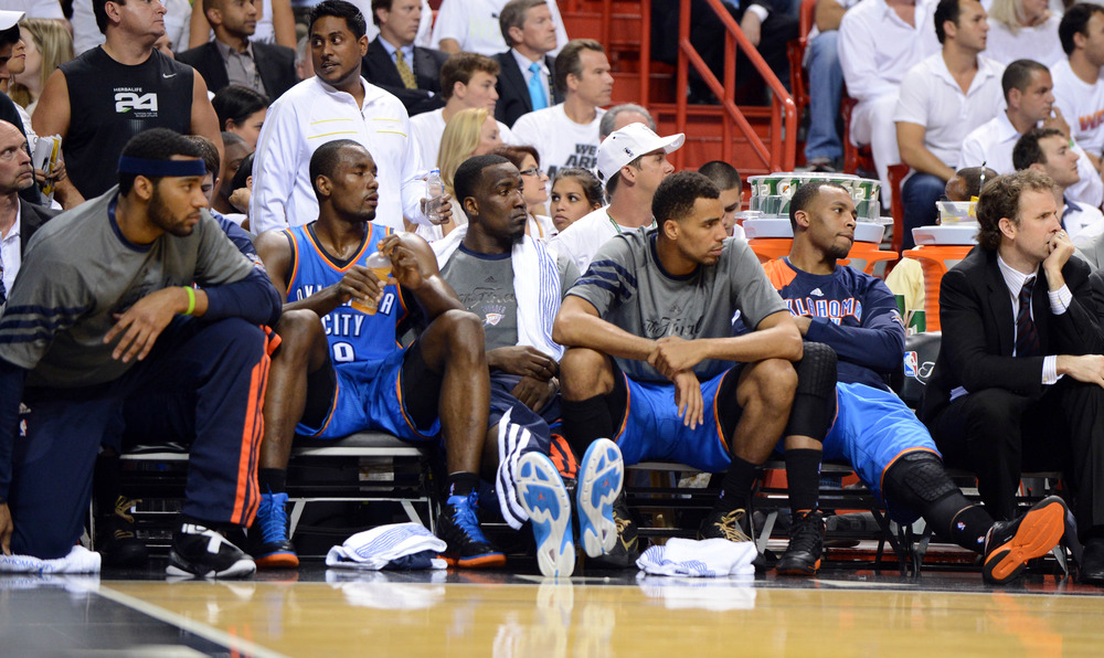 Sadly, some of the Thunder's best players rode the pine at the end of tonight's game. But the Thunder's regular bench players still have a story to tell.