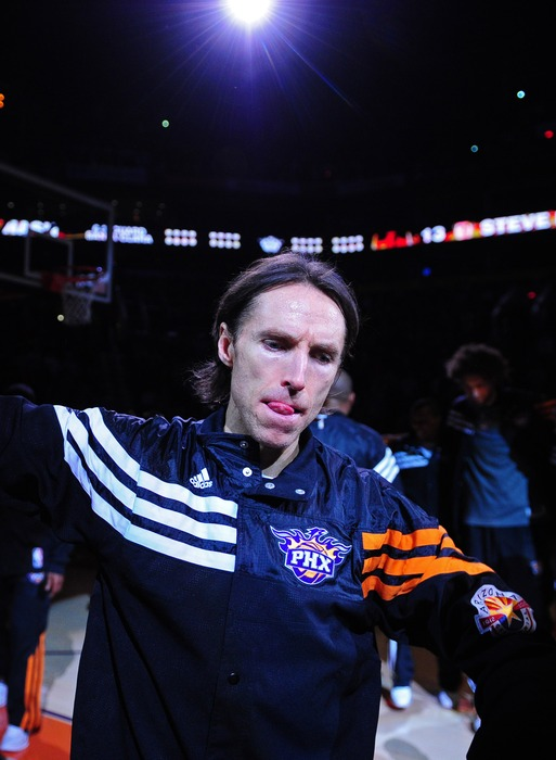 Feb. 20, 2012; Phoenix, AZ, USA; Phoenix Suns guard Steve Nash prior to the game against the Washington Wizards at the US Airways Center. The Suns defeated the Wizards 104-88. Mandatory Credit: Mark J. Rebilas-US PRESSWIRE