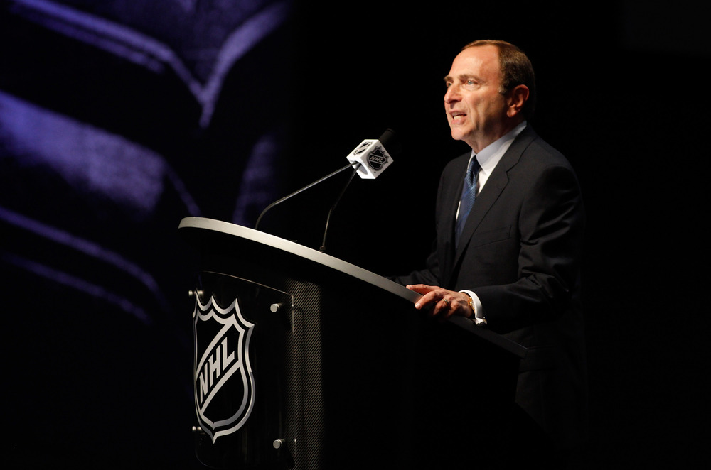 PITTSBURGH, PA - JUNE 22:  NHL Commissioner Gary Bettman speaks during Round One of the 2012 NHL Entry Draft at Consol Energy Center on June 22, 2012 in Pittsburgh, Pennsylvania.  (Photo by Justin K. Aller/Getty Images)