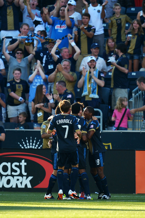 CHESTER, PA- JUNE 23:  The Philadelphia Union celebrate the first goal during the match against Sporting Kansas Cityat PPL Park on June 23, 2012 in Chester, Pennsylvania. (Photo by Drew Hallowell/Getty Images)